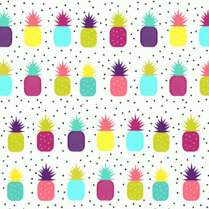 Pineapples - bright, colourful, neon, tropical fruit, geometric, baby, kids || by sunny afternoon