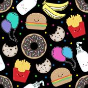 Fun Food Colourful confetti on black