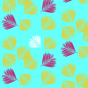 Palm tree leaves - tropical, summer, bright Aqua, neon, fun, kids || by sunny afternoon