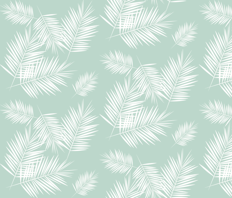 palm leaves - mint and white, tropical, palm tree || by sunny afternoon fabric by sunny_afternoon on Spoonflower - custom fabric