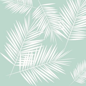 palm leaves - mint and white, tropical, palm tree || by sunny afternoon