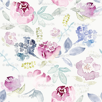 Watercolour Florals Vintage Faded Style on Cream MEDIUM