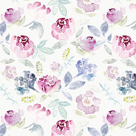 Watercolour Florals Vintage Faded Style on Cream MEDIUM fabric by sylviaoh on Spoonflower - custom fabric