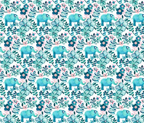 Little Teal Elephant Watercolor Floral on White fabric by micklyn on Spoonflower - custom fabric