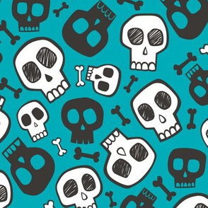Skulls and Bones Halloween Black & White on Aqua Blue