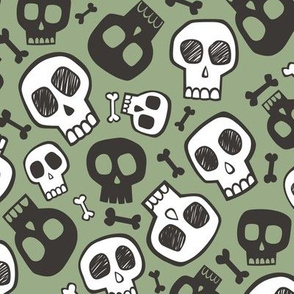 Skulls and Bones Halloween Black & White on Green