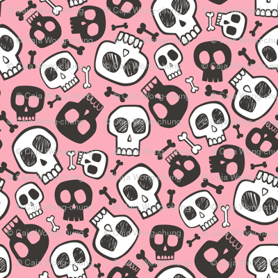 Skulls and Bones Halloween Black & White on Pink