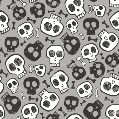 Skulls and Bones Halloween Black & White on Grey