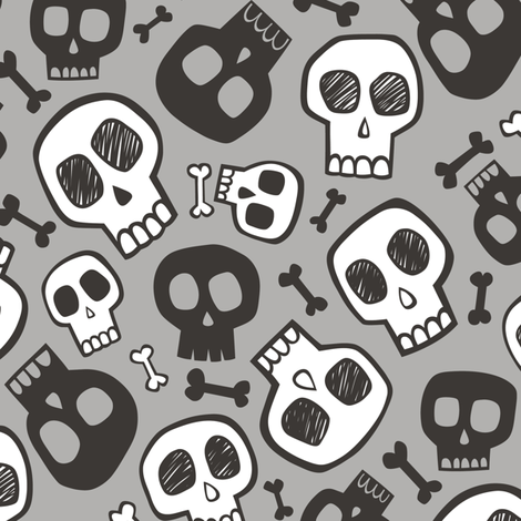 Skulls and Bones Halloween Black & White on Grey fabric by caja_design on Spoonflower - custom fabric