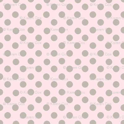Taupe polka dots on pale blush