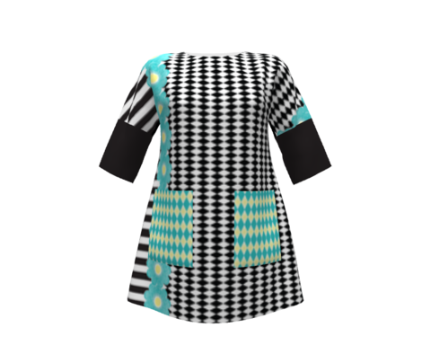 Checkered Flower Black White Aqua