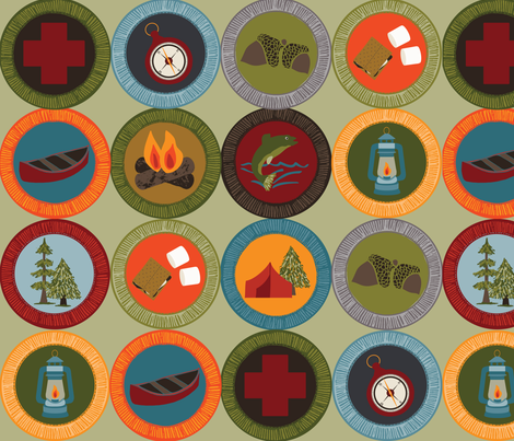 Earned Badges Large fabric by laine_and_leo on Spoonflower - custom fabric
