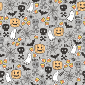 Halloween Doodle with Skulls,Bat,Pumpkin,Spider web,Ghost on Light Grey
