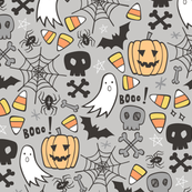 Halloween Doodle with Skulls,Bat,Pumpkin,Spider web,Ghost on Light Grey