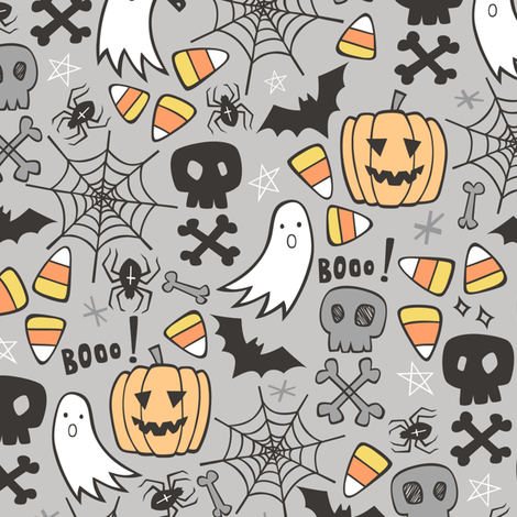 Halloween Doodle with Skulls,Bat,Pumpkin,Spider web,Ghost on Light Grey fabric by caja_design on Spoonflower - custom fabric
