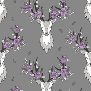 Deer Head Purple Flowers Floral on Dark Grey