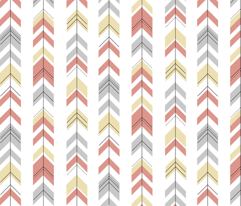 Arrows - pastel, geometric, pale yellow coral grey, baby girl || by sunny afternoon fabric by sunny_afternoon on Spoonflower - custom fabric