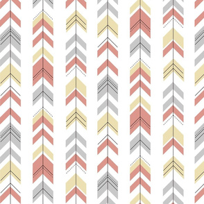 Arrows - pastel, geometric, pale yellow coral grey, baby girl || by sunny afternoon
