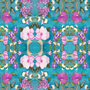 Watercolor turquoise floral