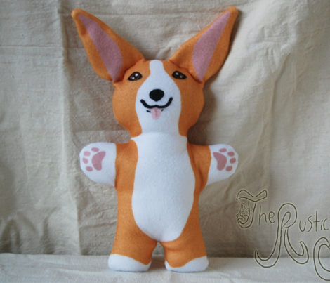 Kawaii Corgi plushie on blue - red white