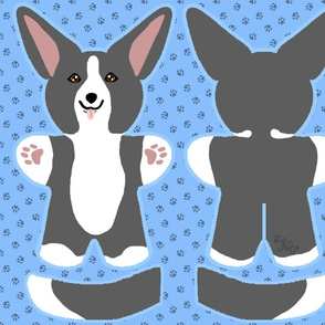 Kawaii Corgi plushie on blue - black white