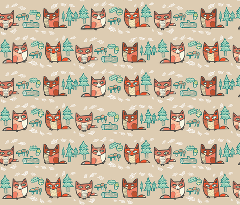 forest foxies in browns fabric by pinkowlet on Spoonflower - custom fabric