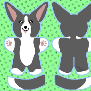 Kawaii Corgi plushie on green - black white