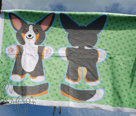 Kawaii Corgi plushie on green - tricolor
