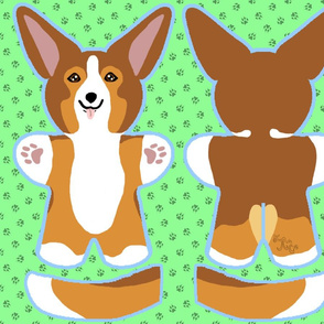 Kawaii Corgi plushie on green - sable
