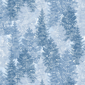 Winter Conifer Forest Watercolor Blue