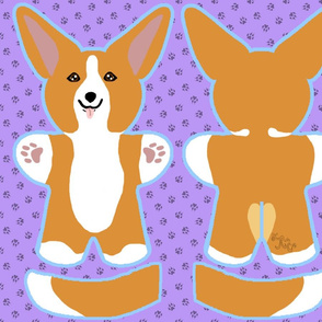 Kawaii Corgi plushie on purple - red white