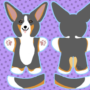 Kawaii Corgi plushie on purple - tricolor