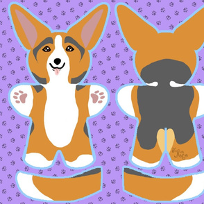 Kawaii Corgi plushie on purple - red head tri