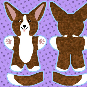 Kawaii Corgi plushie on purple - brindle