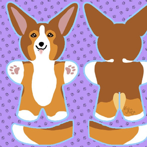 Kawaii Corgi plushie on purple - sable