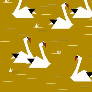 swans - origami geometric black and white on spicy mustard || by sunny afternoon