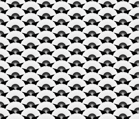 Japanese Fans in Black and White fabric by pinkowlet on Spoonflower - custom fabric