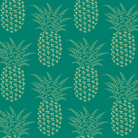 pi-napple pineapple in green and gold fabric by weavingmajor on Spoonflower - custom fabric