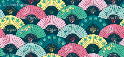 Japanese Fans Pastel Patterns