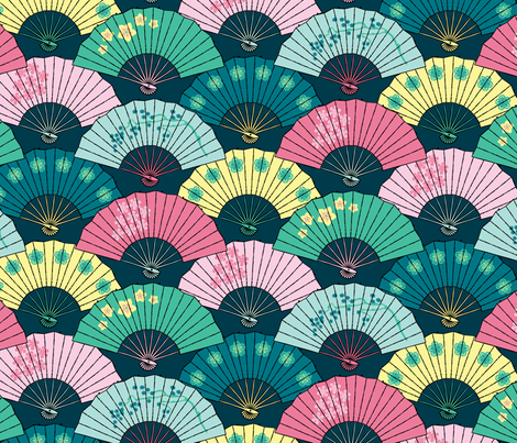 Japanese Fans Pastel Patterns fabric by pinkowlet on Spoonflower - custom fabric