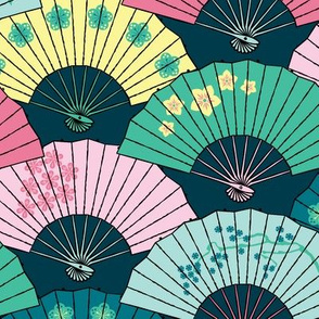 Japanese Fans Pastel Patterns