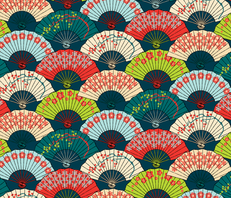 Japanese Fans Bright Patterns Fabric Pinkowlet Spoonflower