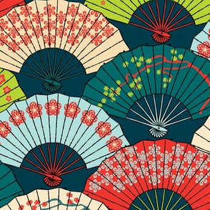 Japanese Fans Bright Patterns