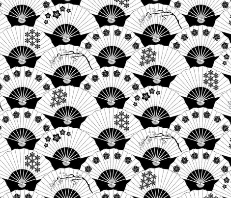 Japanese Fans Black and White Pattern fabric by pinkowlet on Spoonflower - custom fabric