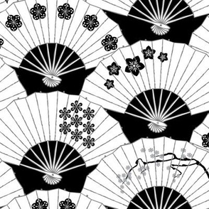 Japanese Fans Black and White Pattern