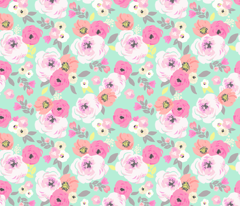 Sweet Pea Floral Mint fabric by crystal_walen on Spoonflower - custom fabric