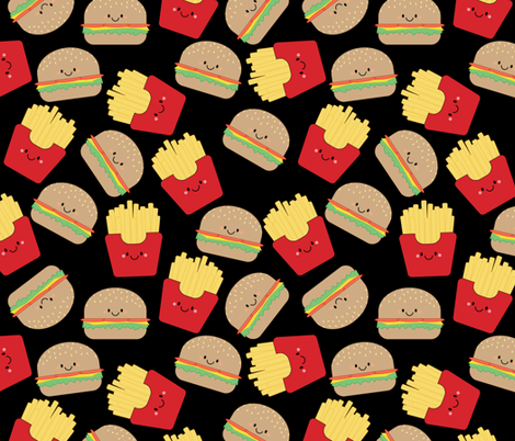 Burger and Fries on Black fabric by sylviaoh on Spoonflower - custom fabric