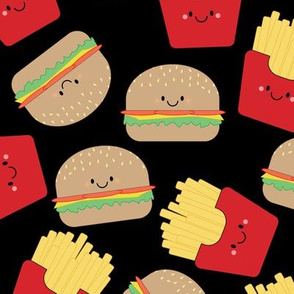 Burger and Fries on Black Medium