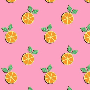 Orange Slices on Pink