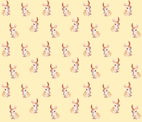 Bunny_Scatter_pastel_yellow fabric by thistleandfox on Spoonflower - custom fabric